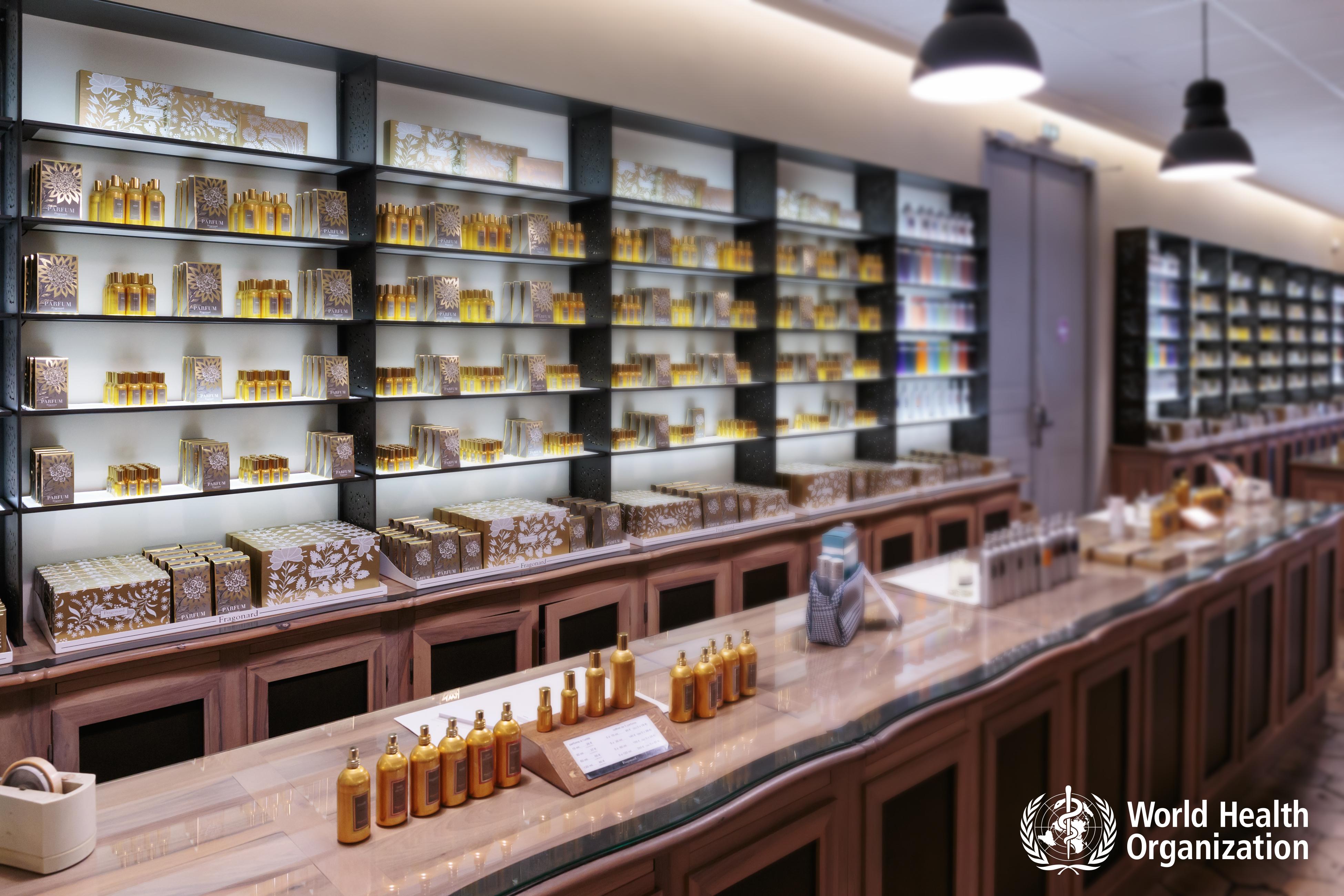 bottles and jars on a shelf
